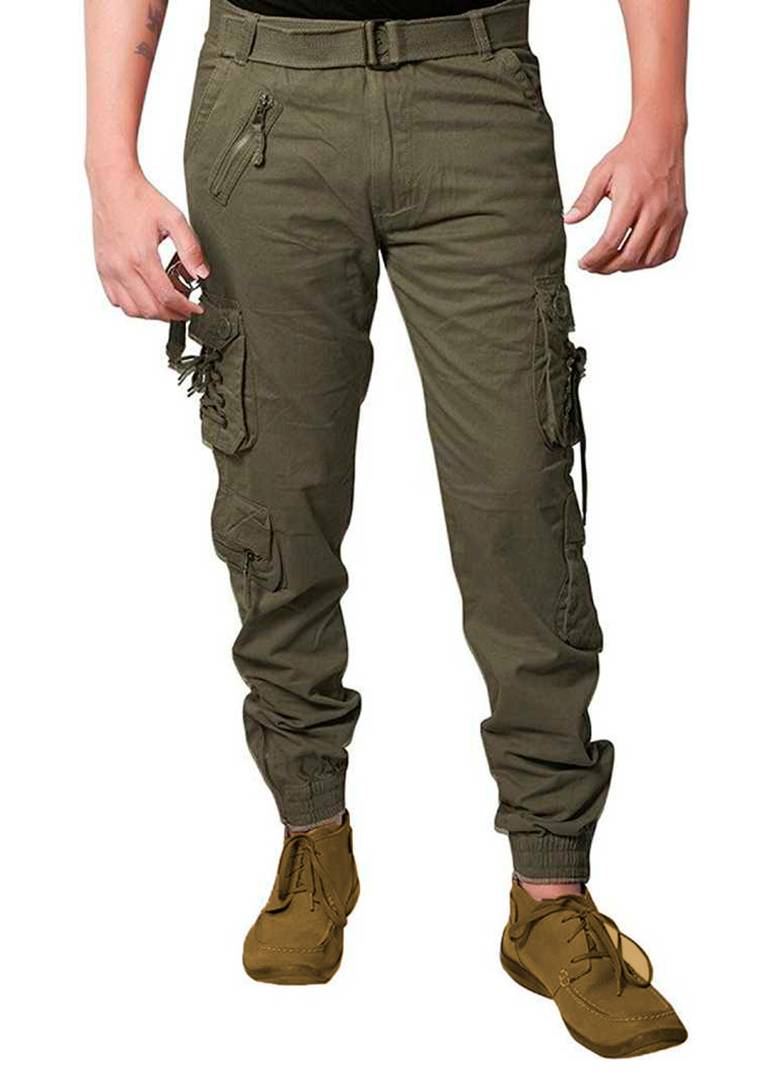 Men's Green Cotton Blend Solid Regular Fit Cargo