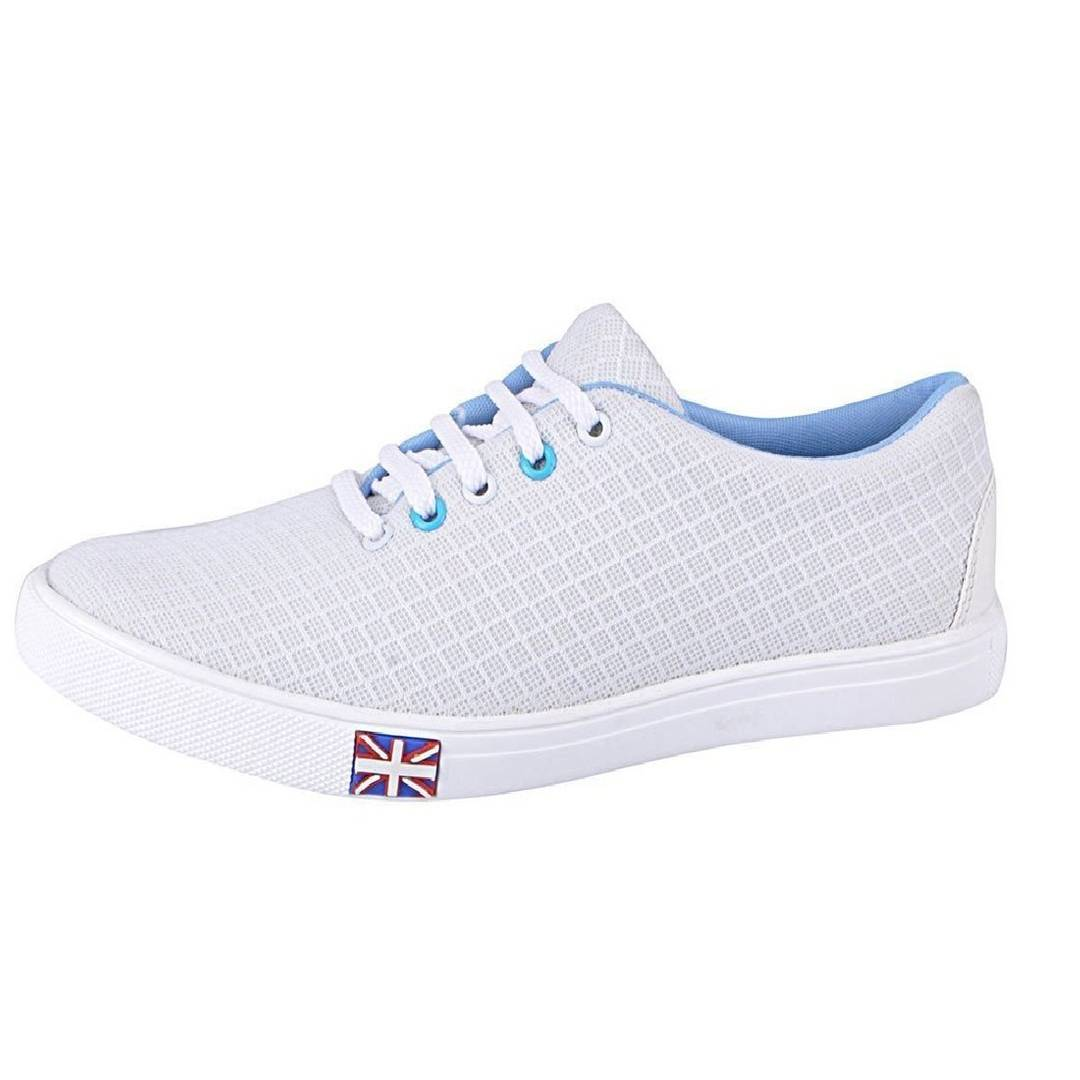 Men's White Casual Lace-Up Sneaker Shoes