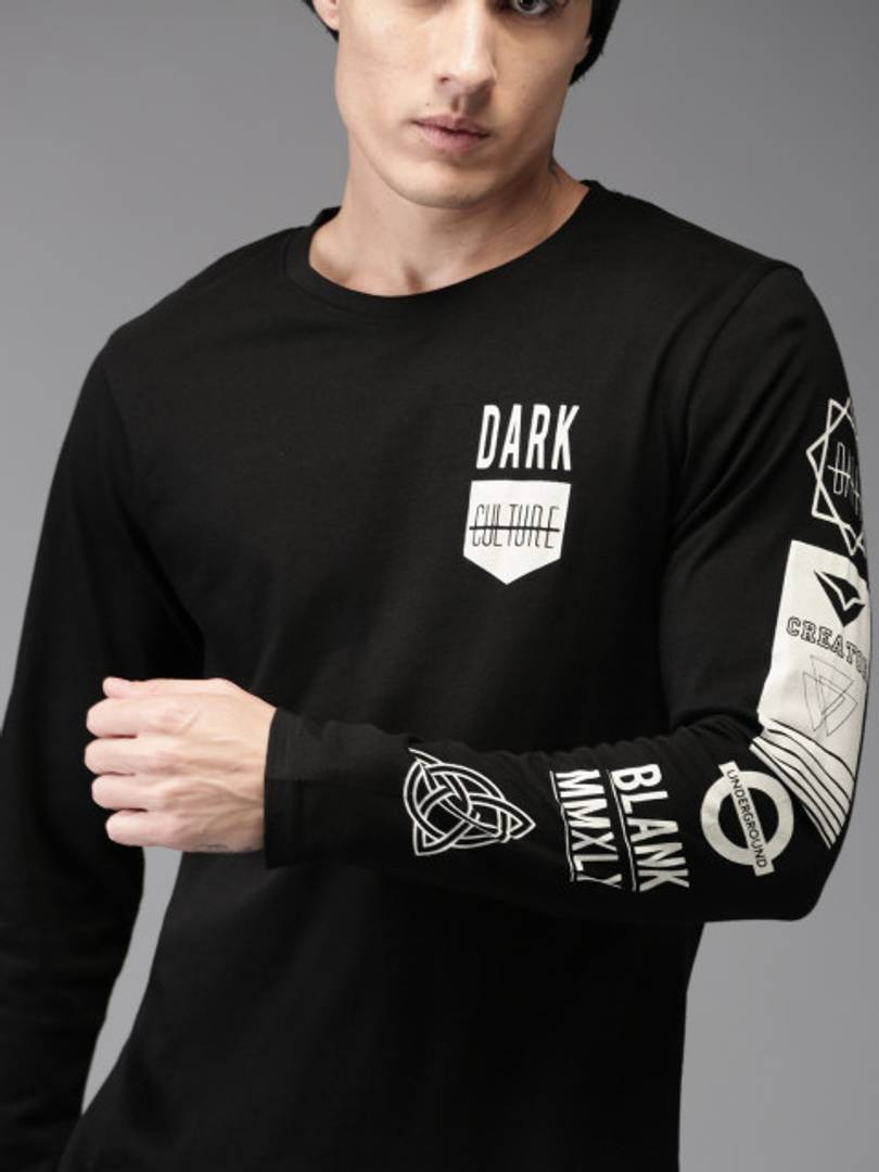 Black Cotton Blend Round Neck Full Sleeves T-shirt For Men