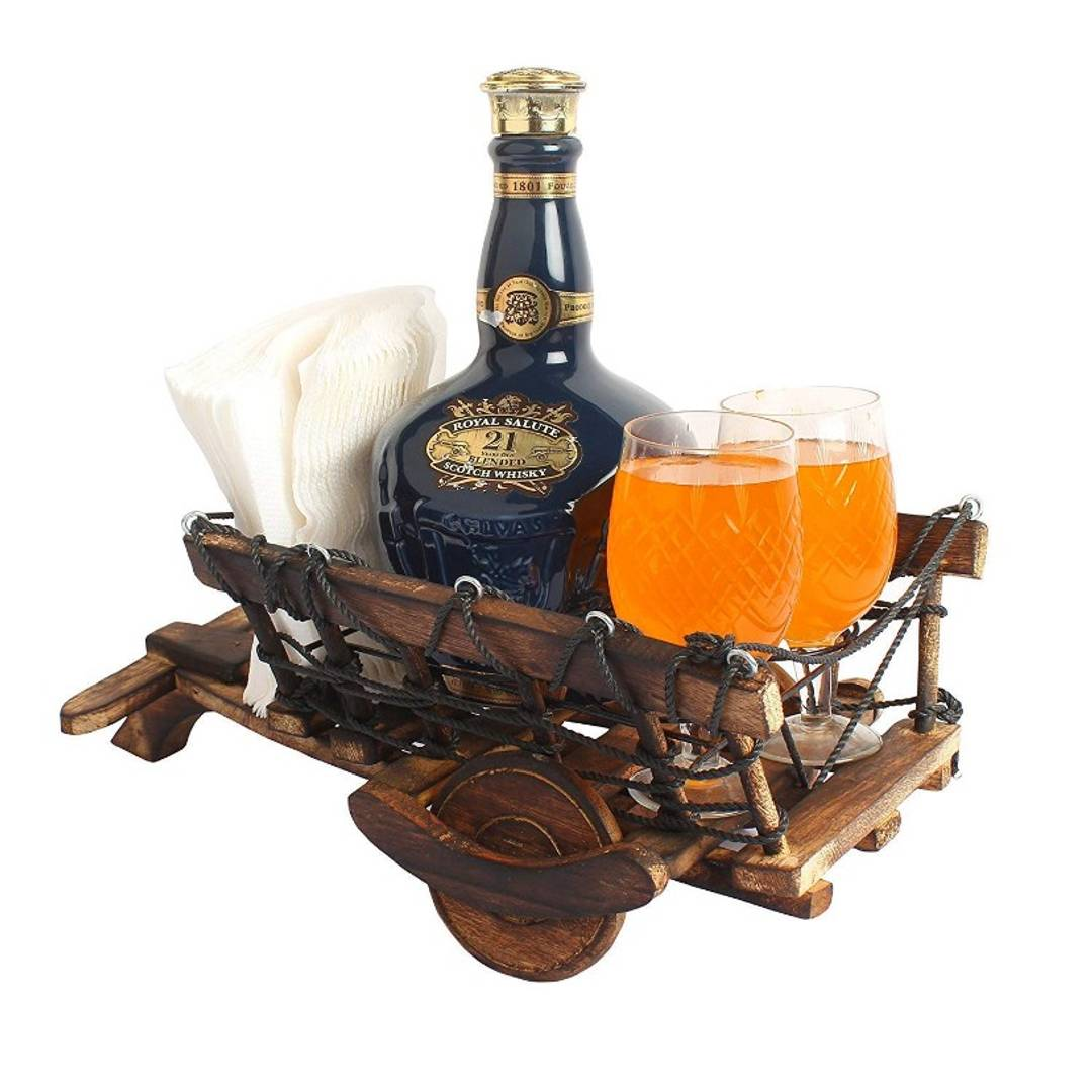 Wooden Cart Shaped 1 Wine Bottle and 2 Glass Holder Handmade Wooden Cart for Gift Table Item