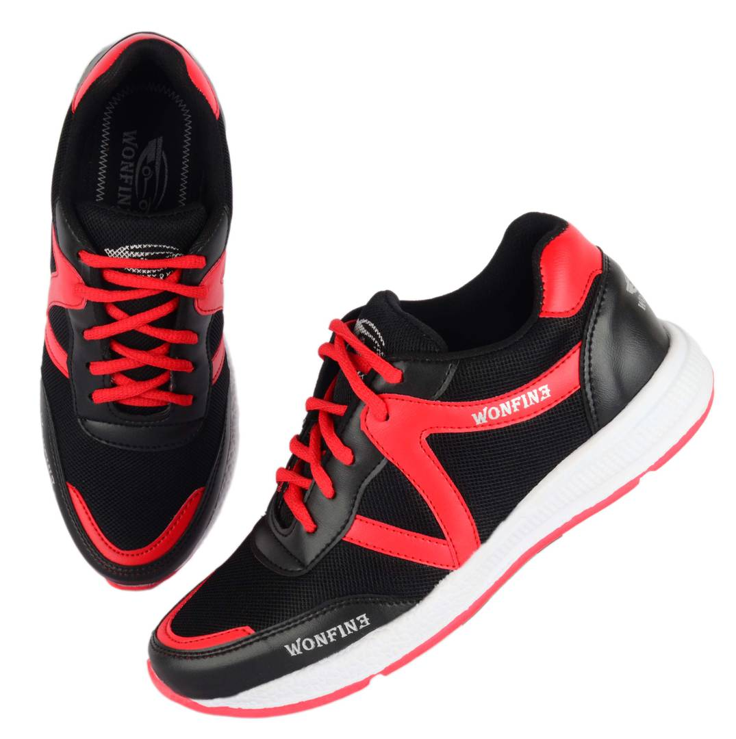 Men's Red White Mesh Comfortable Sports Shoes