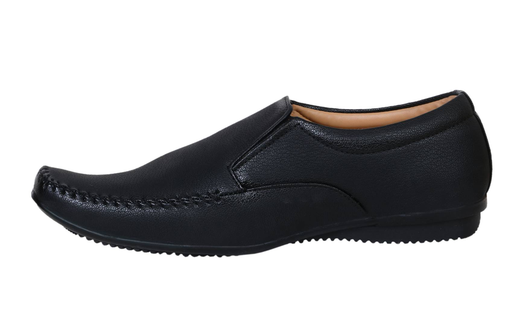 Black Solid Formal Slip On Shoes for Men