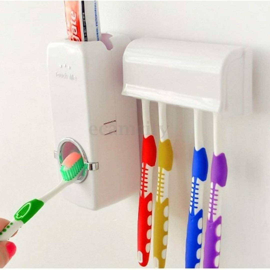 U.S.Traders Plastic Automatic Toothpaste Dispenser with Tooth Brush Holder for Homes and Bathrooms (Multicolour, 16x10.5x7.6cm)
