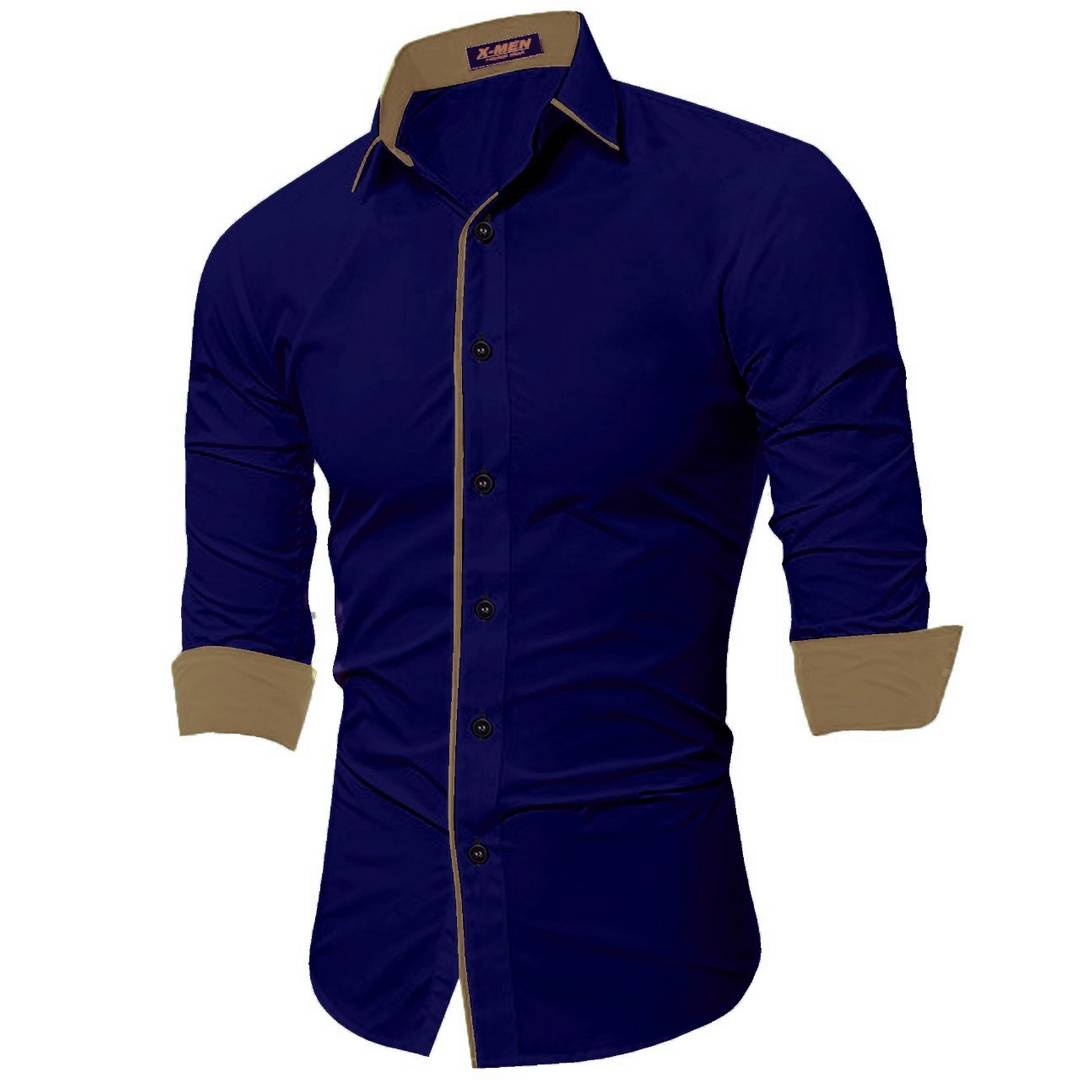 Men's Navy Blue Cotton Long Sleeves Solid Slim Fit Casual Shirt