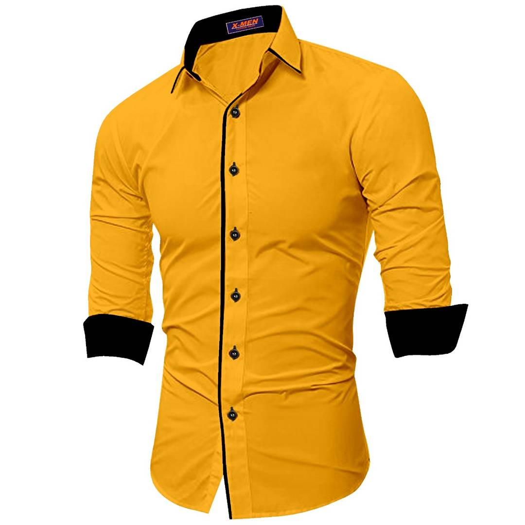 Men's Yellow Cotton Long Sleeves Solid Slim Fit Casual Shirt