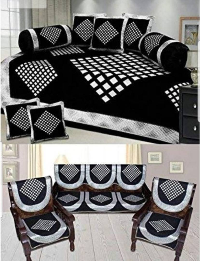 classic printed diwan set and sofa covers combo