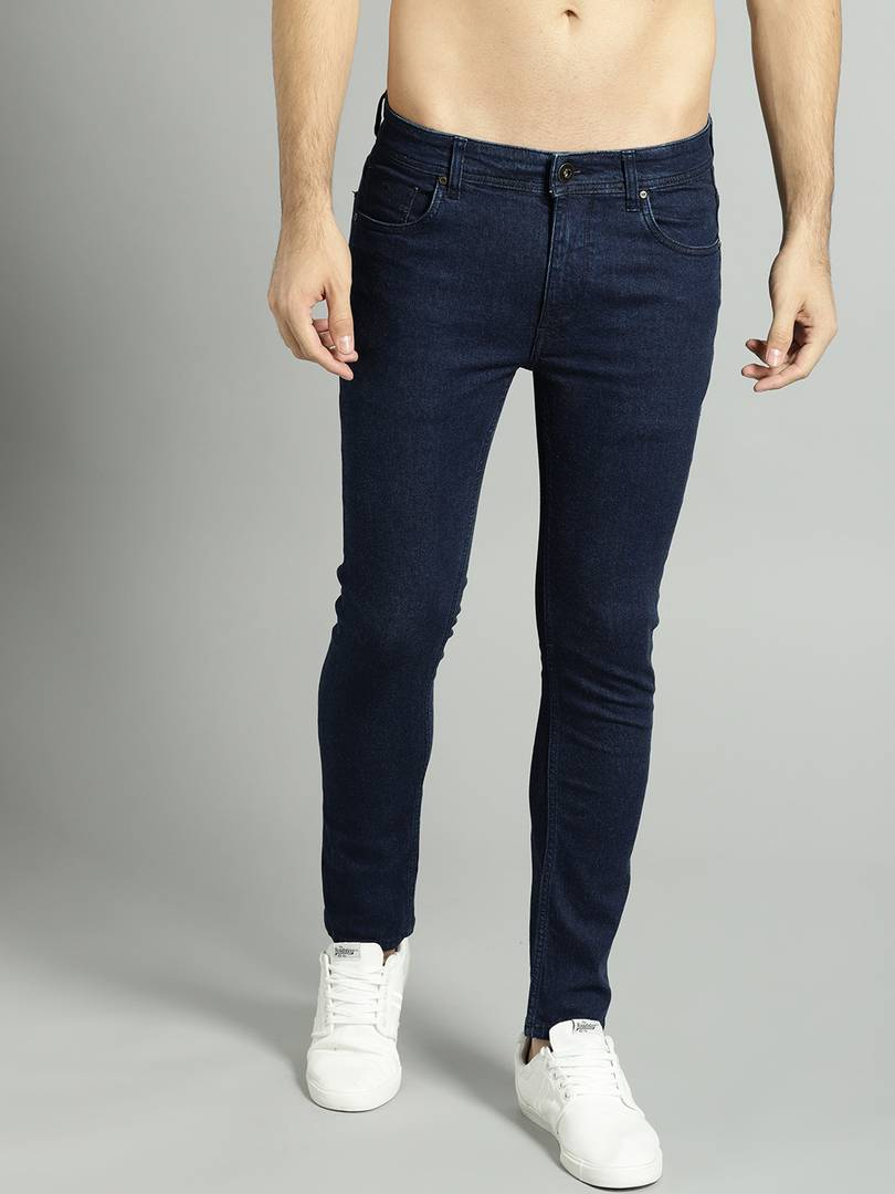 Men's Blue Cotton Spandex Solid Regular Fit Mid-Rise Jeans