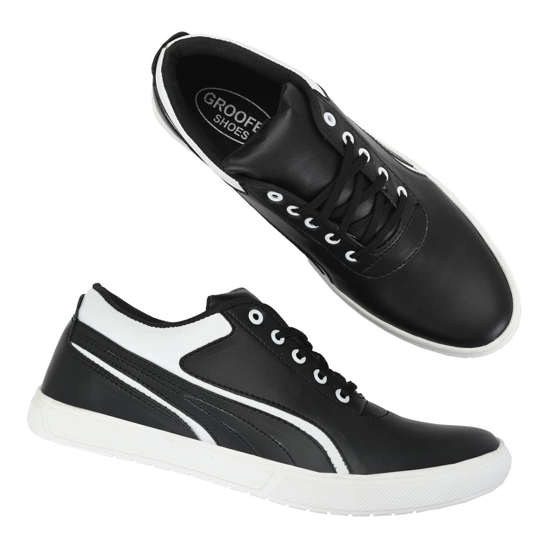 Black & White Lace-Up Self Design Casual Shoes For Men's