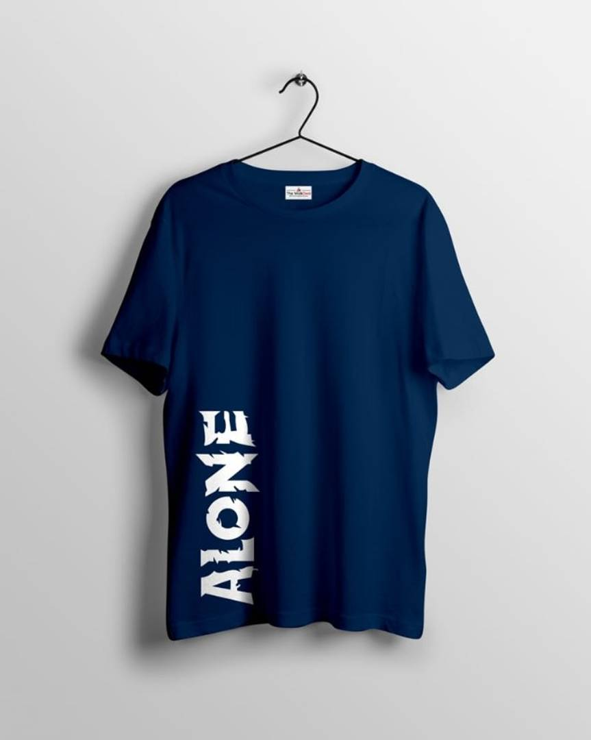 Men's Navy Blue Cotton Printed  Round Neck Tees