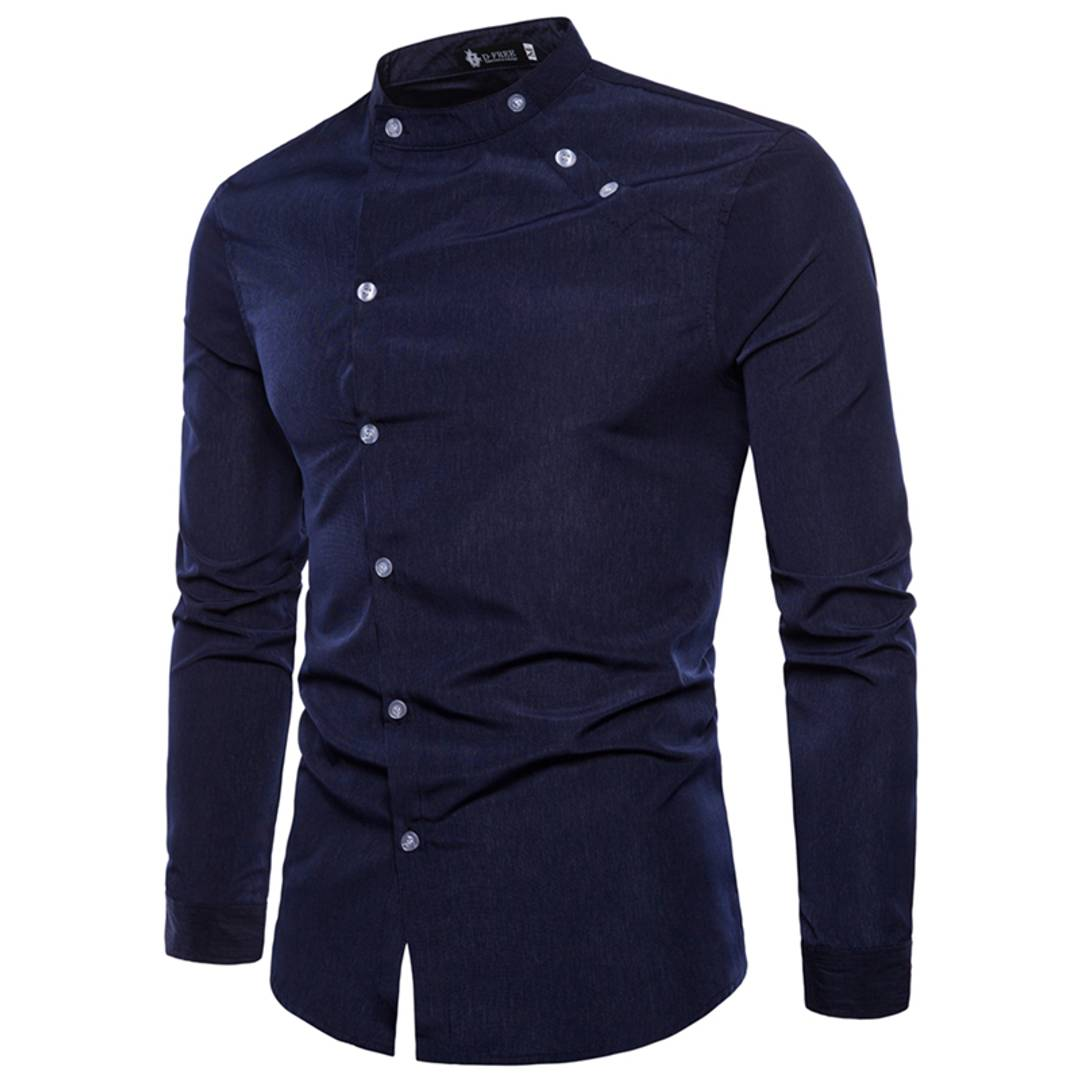 Men's Navy Blue Cotton Solid Long Sleeves Slim Fit Casual Shirt