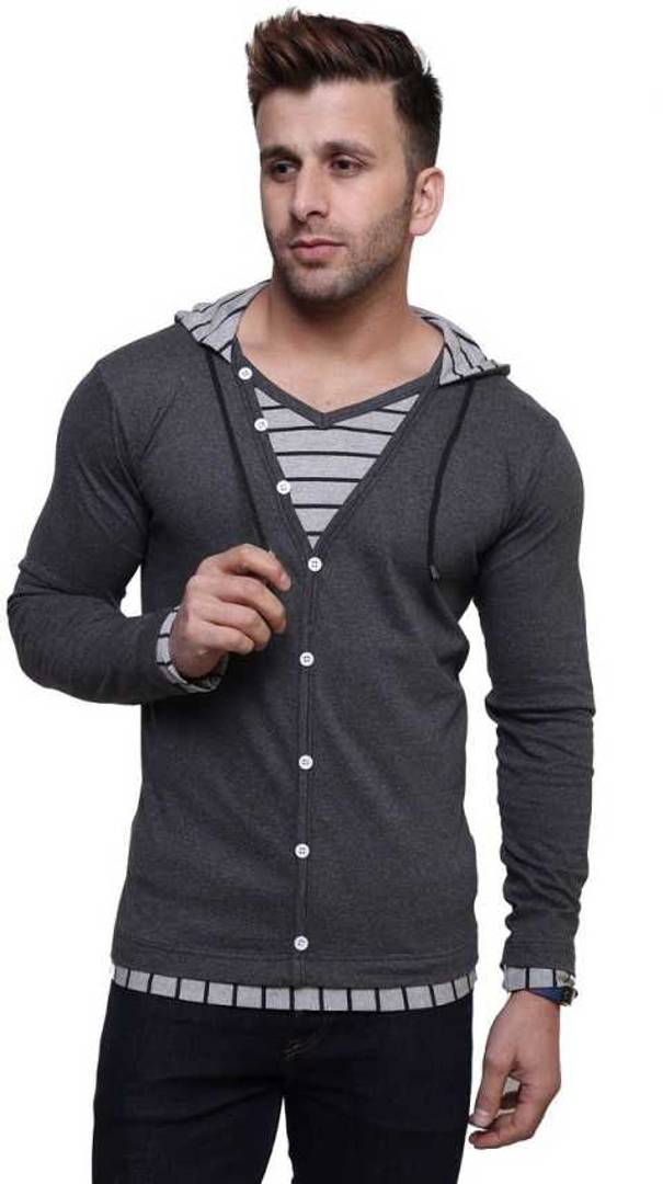Men's Grey Cotton Solid Hooded Tees