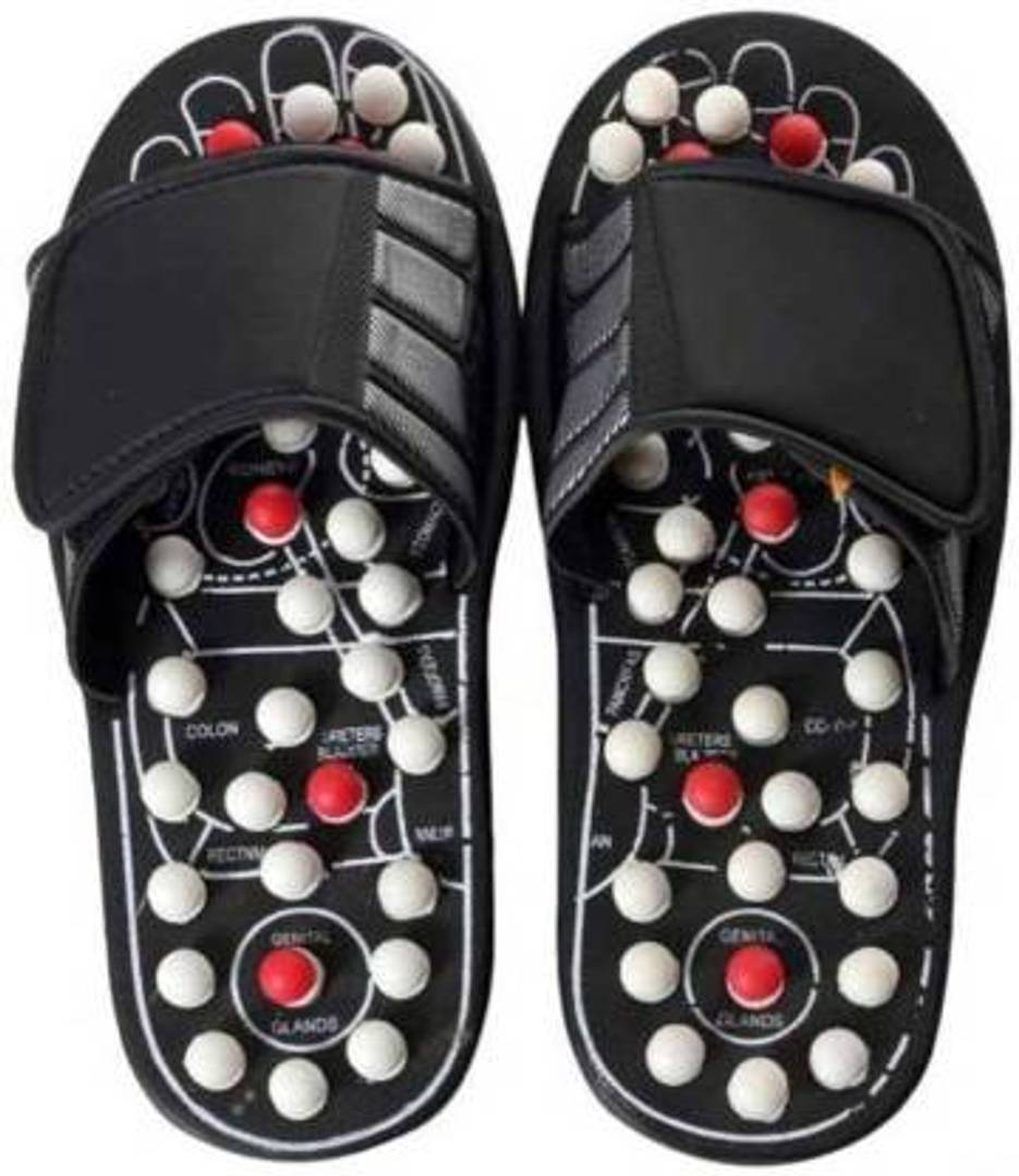 Acupressure & Magnetic Therapy Accu Paduka Chappal Slippers Full Body Blood Circulation Free size Massager  (Black)