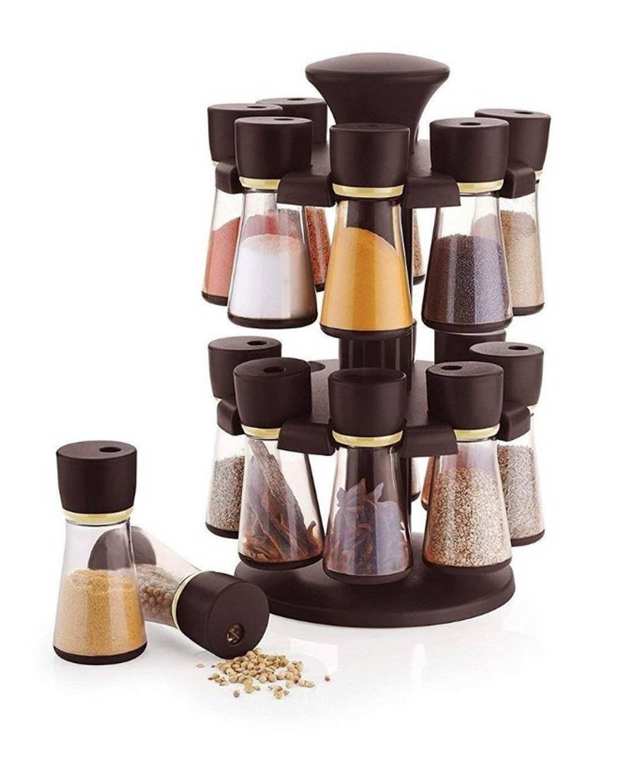 16 jar spice rack Polycarbonate Spice Container Set of 16, 80 ml