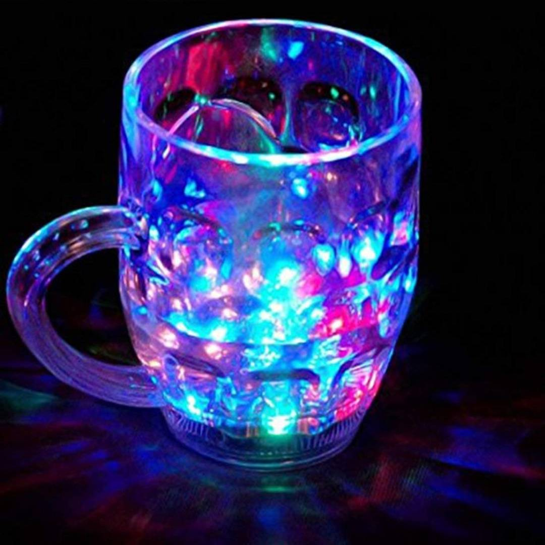 Plastic LED Flashing 7 Colors Changing Liquid Activated Mug (Clear)