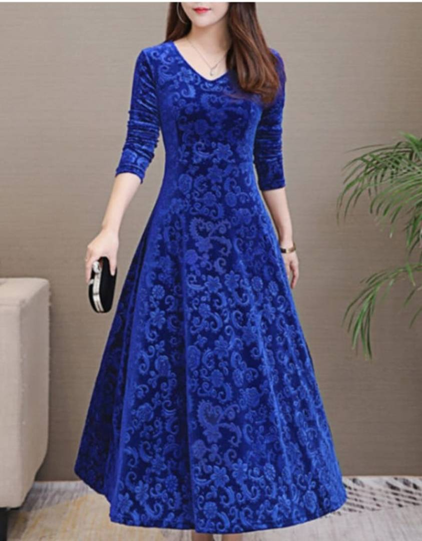 Royal Blue Self Pattern Velvet Long Dress