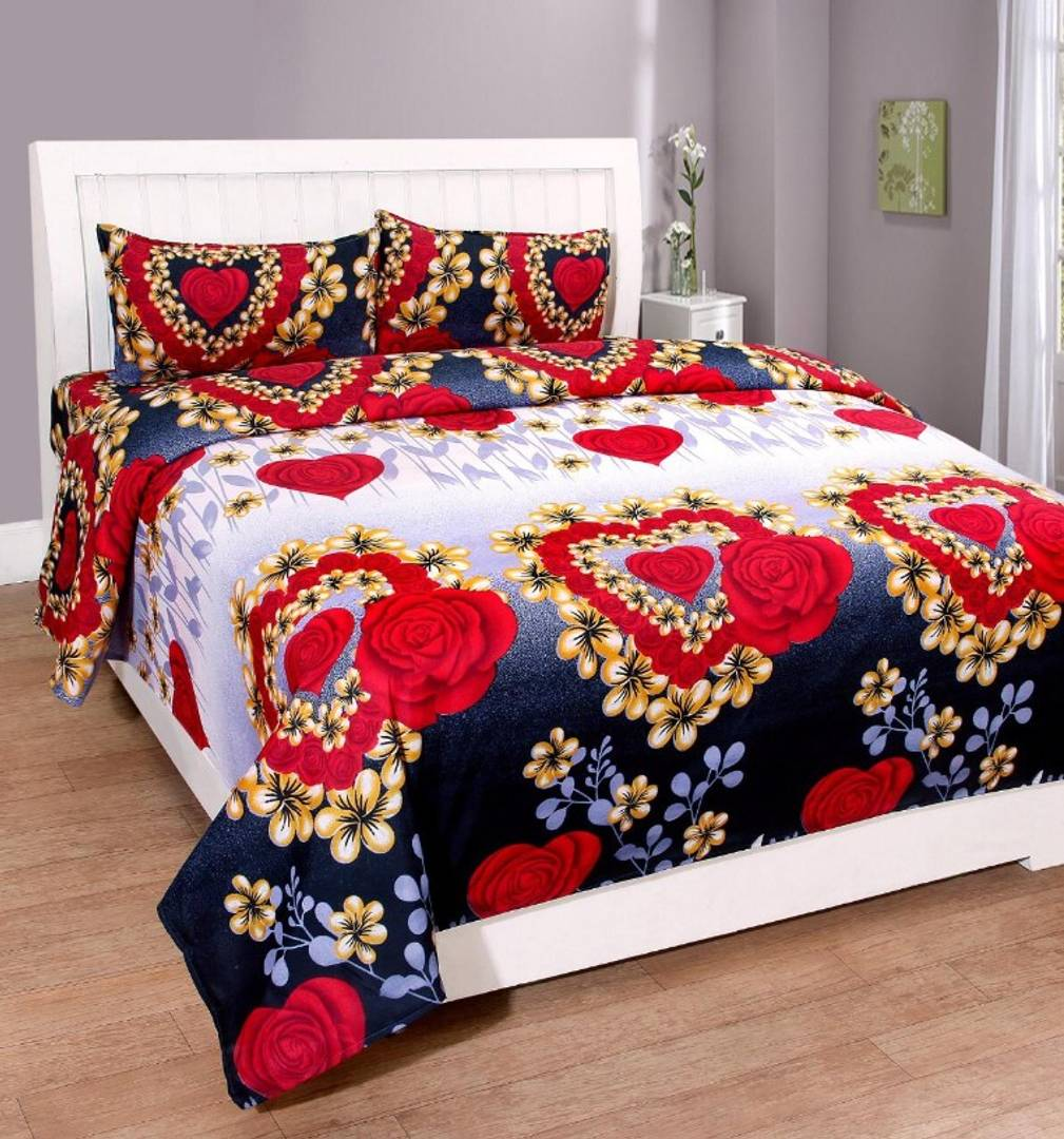 Polycotton Double Bed Bedsheet with 2 Pillow Cover