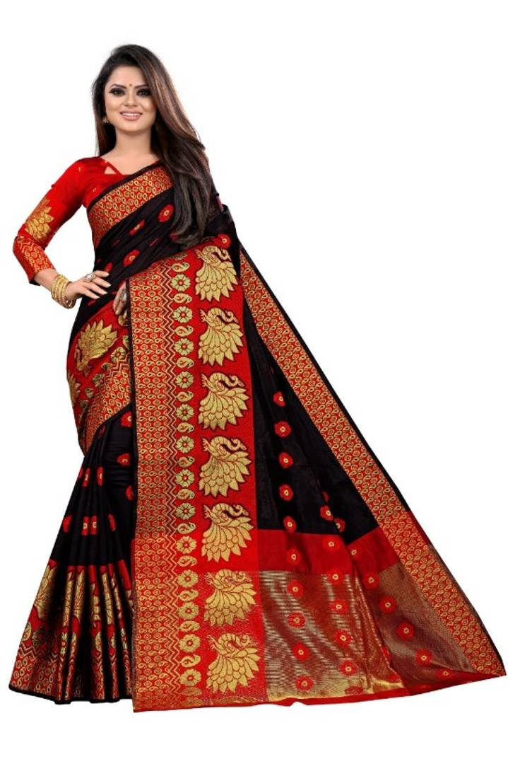 Women's Cotton Silk Jacquard Saree With Blouse