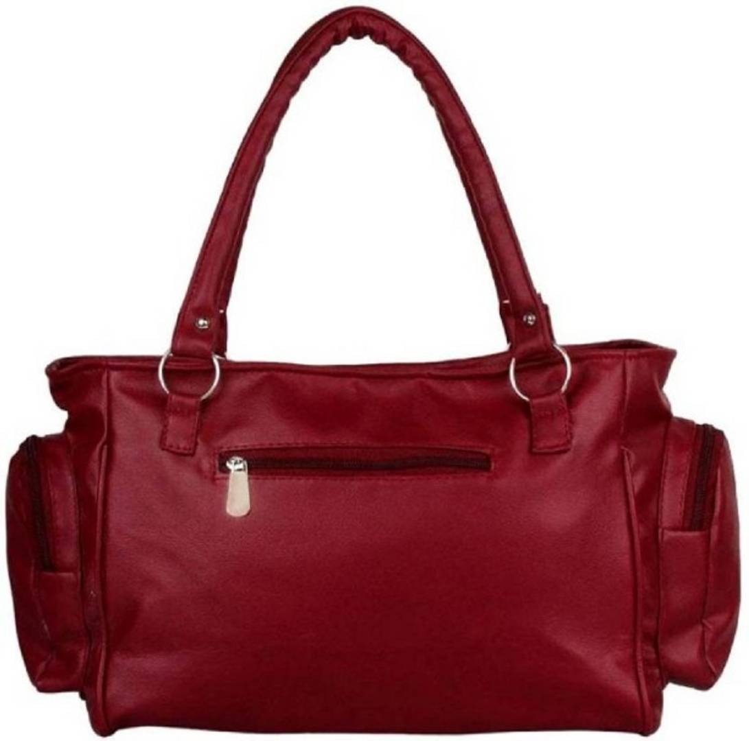 Maroon PU Handbag With 2 Compartment stylish choice