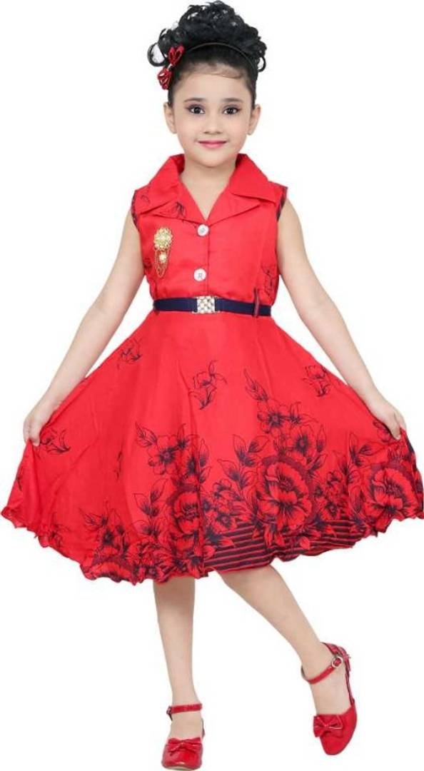 PARTYWEAR RED FROCK WITH COLLAR