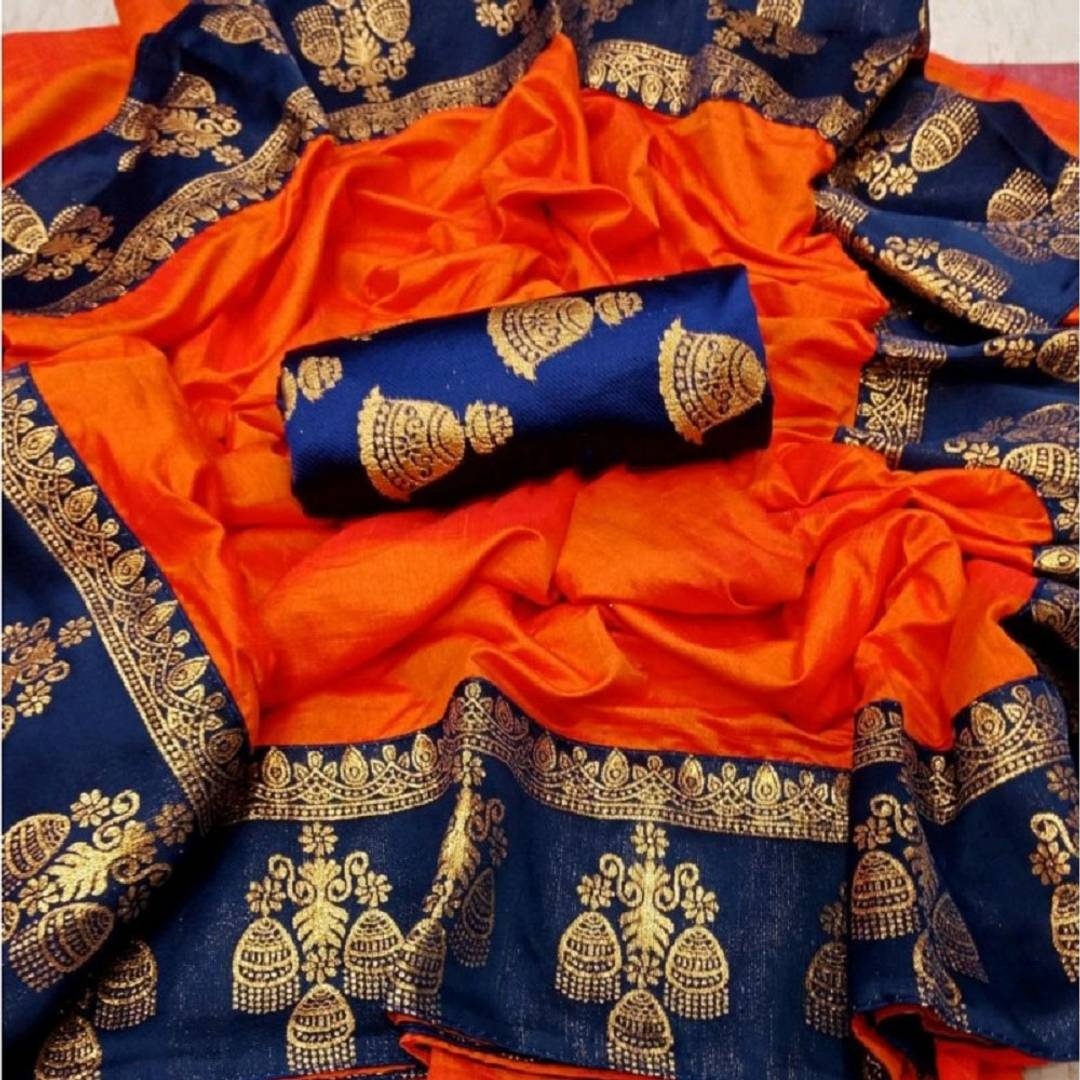 Women Cotton Silk Multicolored Saree With Blouse Piece