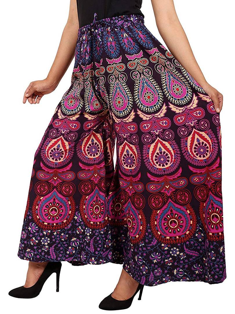 Women's Cotton Purple Printed Palazzo-Pack of 1
