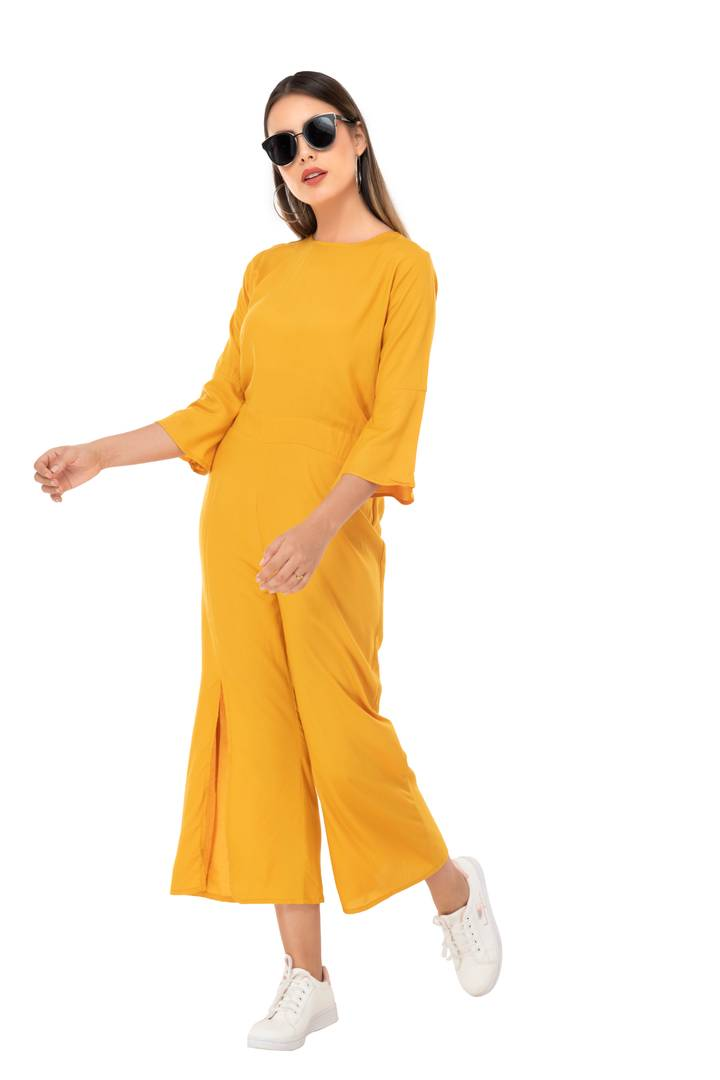 Women's Rayon Mustard Solid Slit Jumpsuit