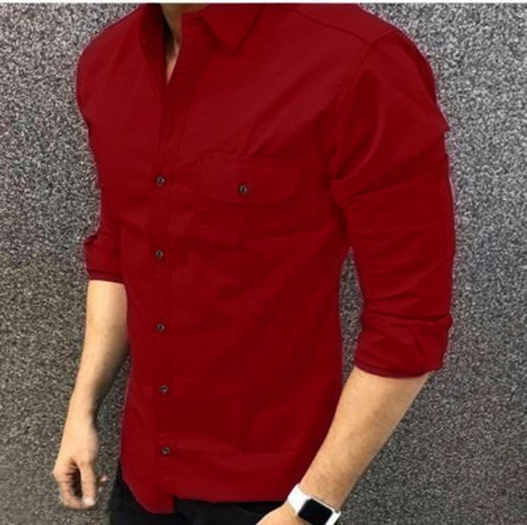 Men's Maroon Cotton Long Sleeves Casual Shirts