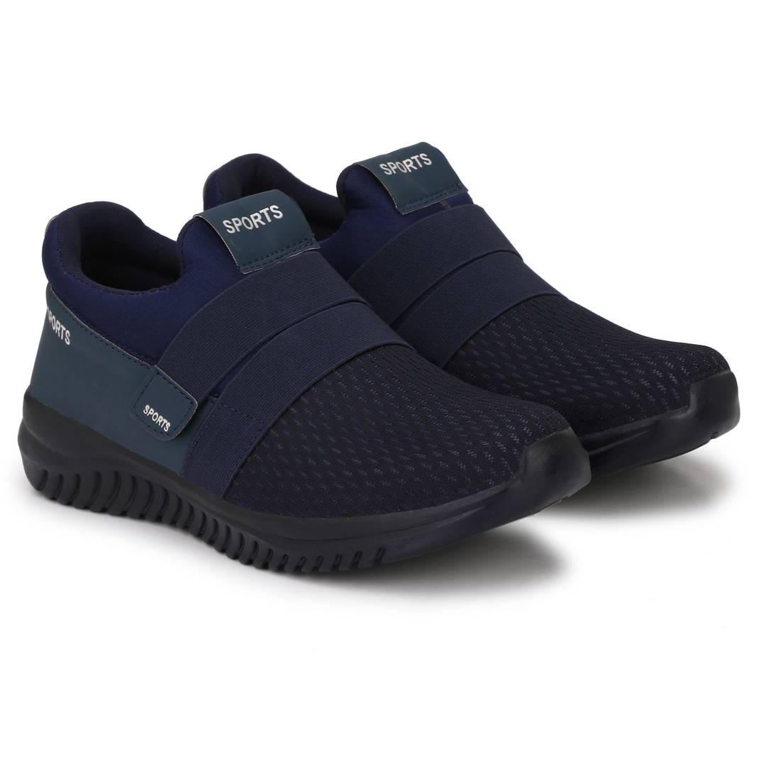 Navy Blue Canvas Mesh Slip On Velcro Casual Wear Walking Running Training Gym Football Sports Shoes