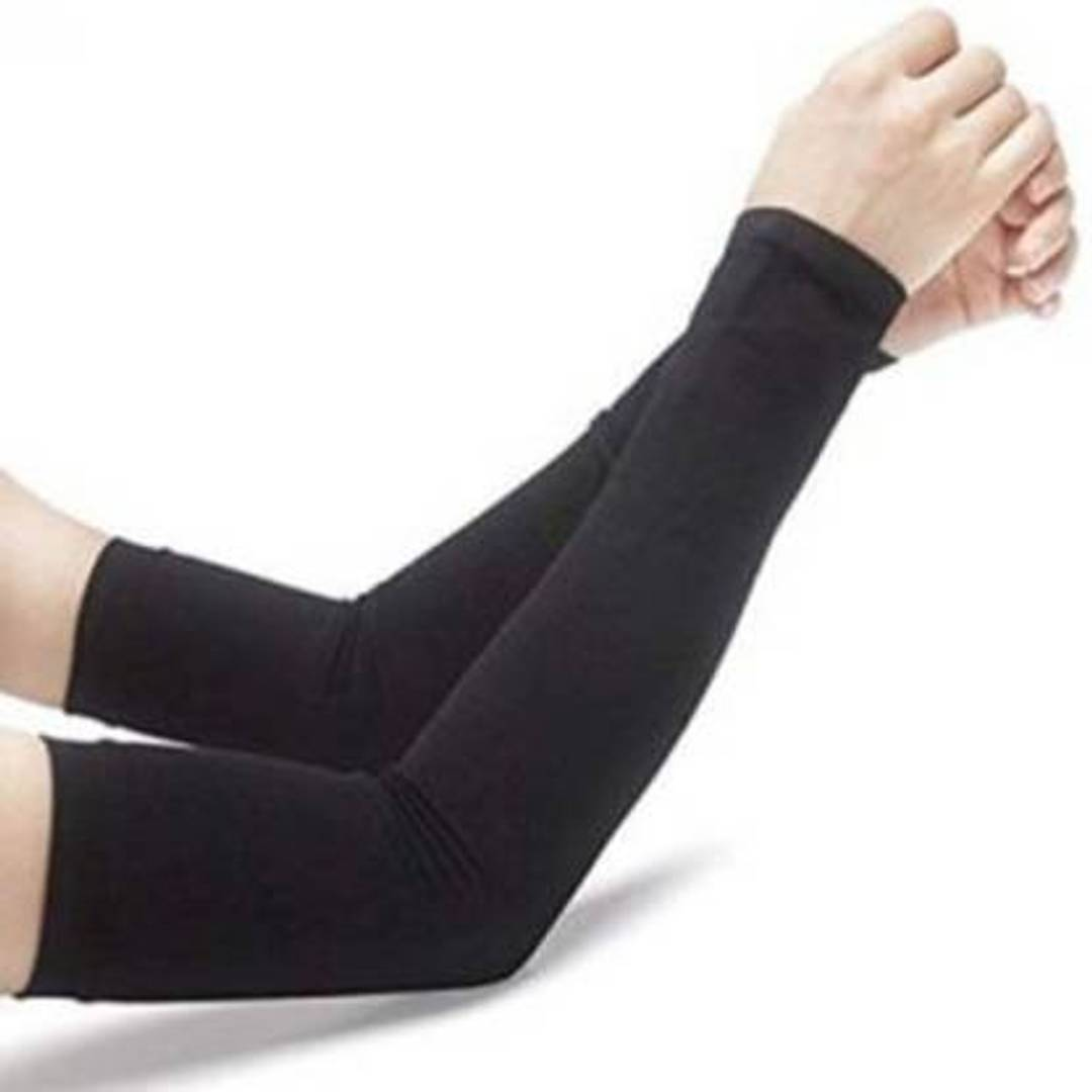 Cotton Arm Sleeve For Men & Women  (Free, Black)