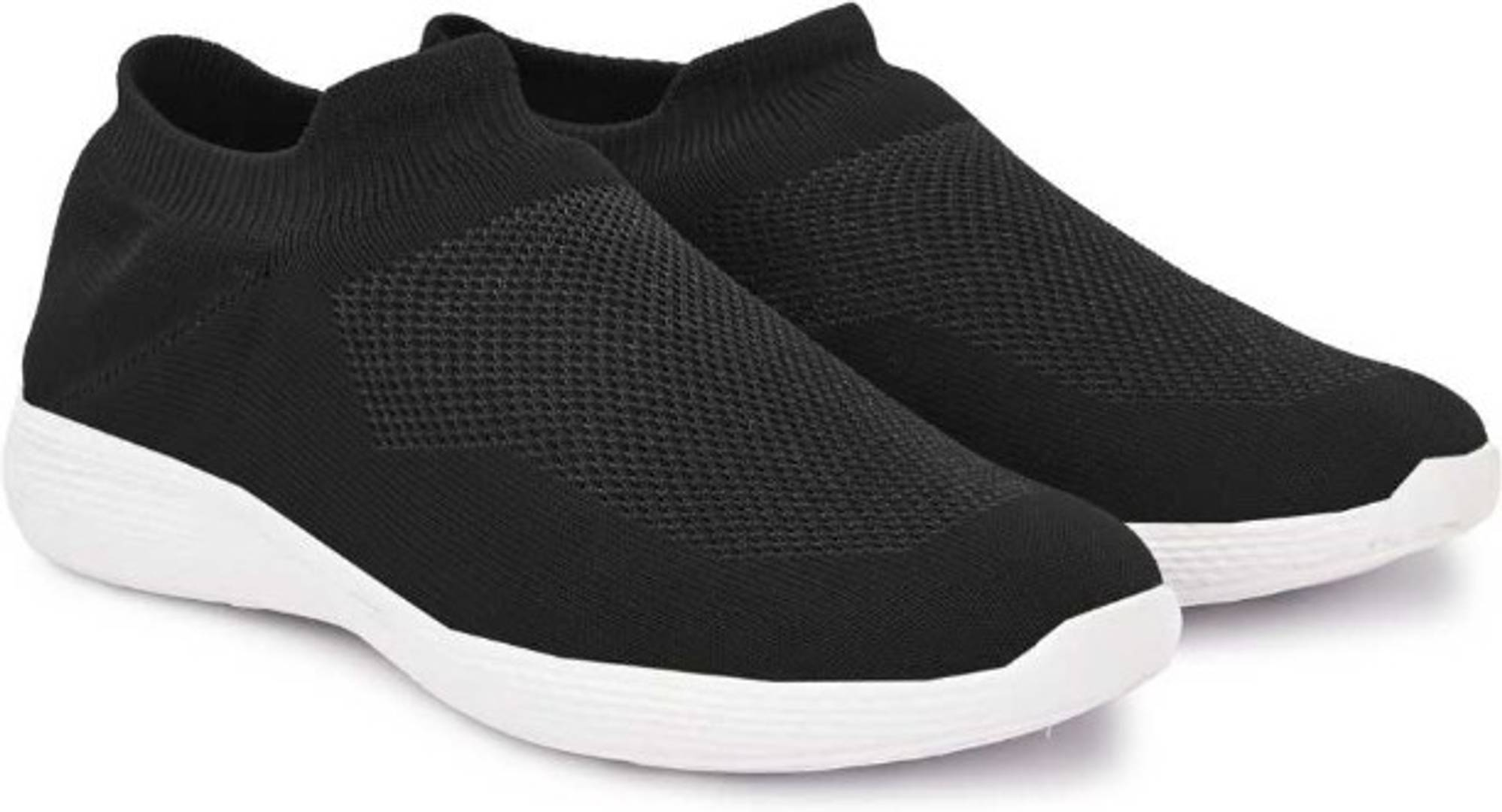 Light Weight Solid Black Mesh Sport Shoes for Men