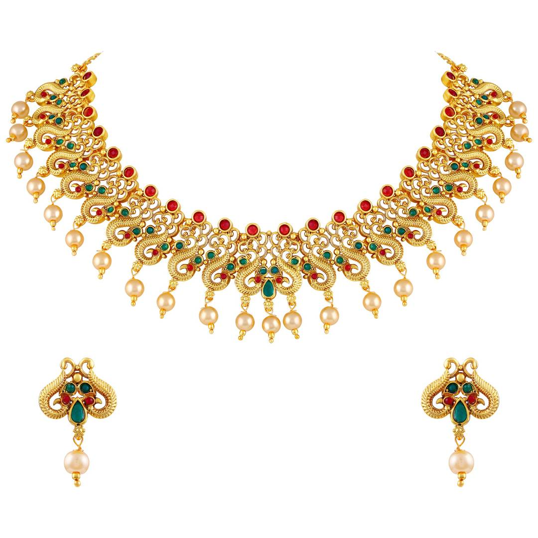 Fashionable Gold Plated Choker Style Necklace Set For Women