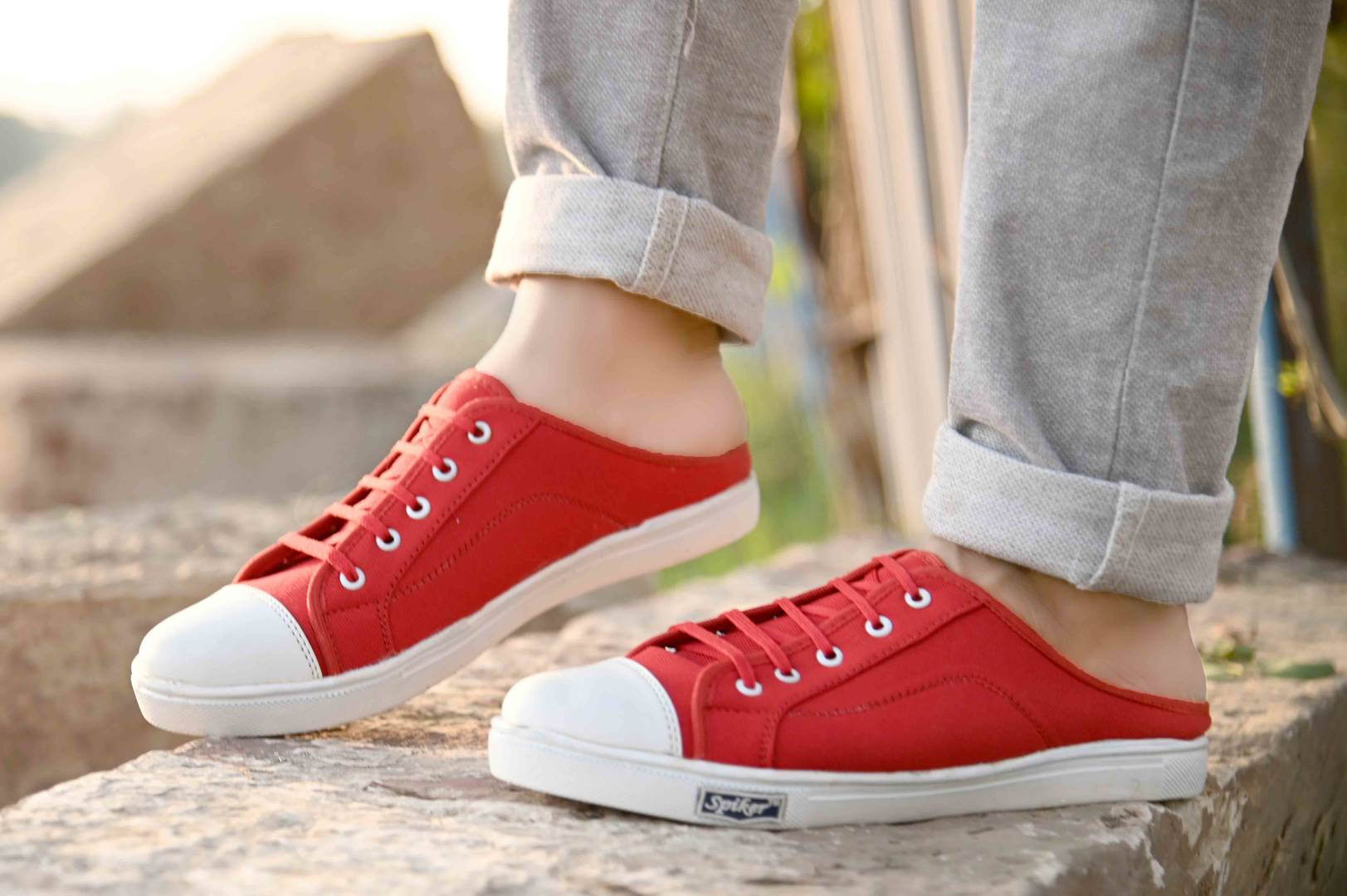 Men's Trendy Red Canvas Solid Slip-On Sneakers Shoes