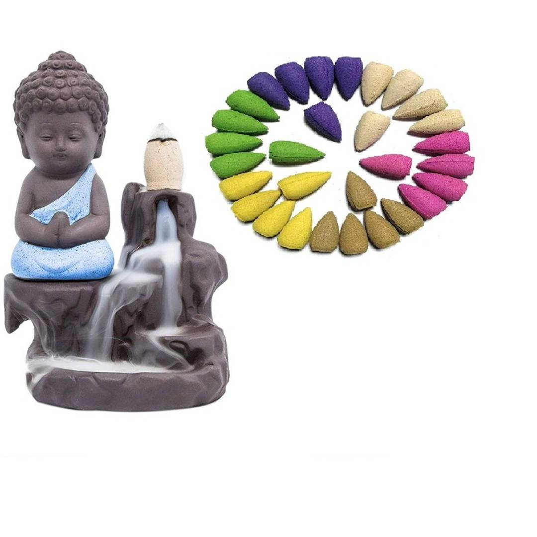 Meditating Monk Suvasane Buddha Smoke Back Flow Cone Decorative Incense Holder (7 cm x 7 cm x 12, Blue)