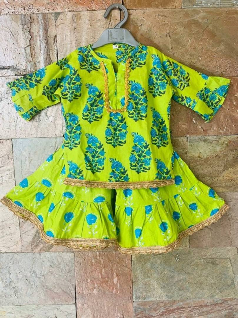 Pretty Cotton Kurti Sharara sets for Girls ( Green)
