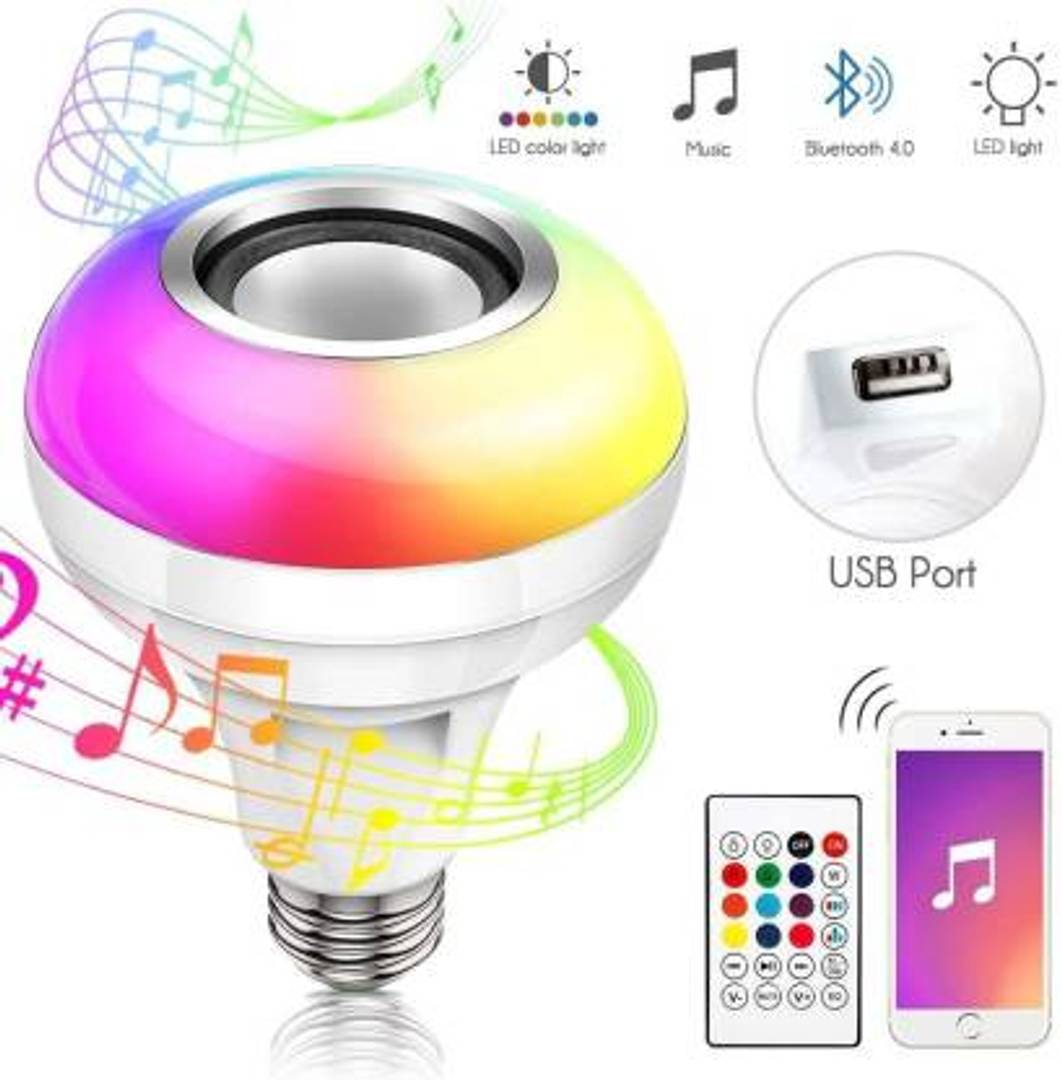 LED RGB Bluetooth Speaker Bulb Wireless Music Playing Light Lamp