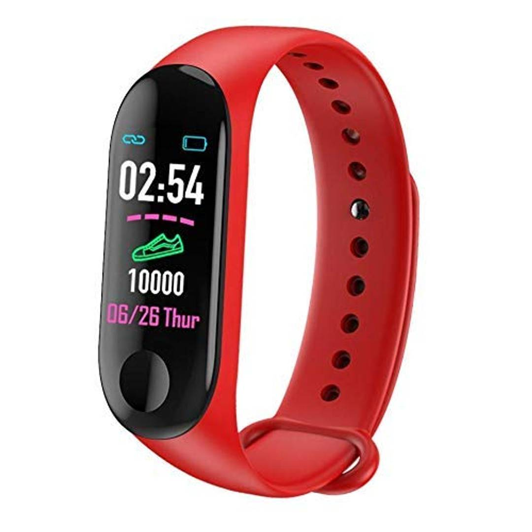 NAVYA M3 Plus Smart Band Fitness Tracker Watch with Activity Tracker Waterproof Body Functions Like Steps Counter,Calorie Counter,Blood Pressure,Heart Rate Monitor OLED Touchscreen M3 Band (Red)