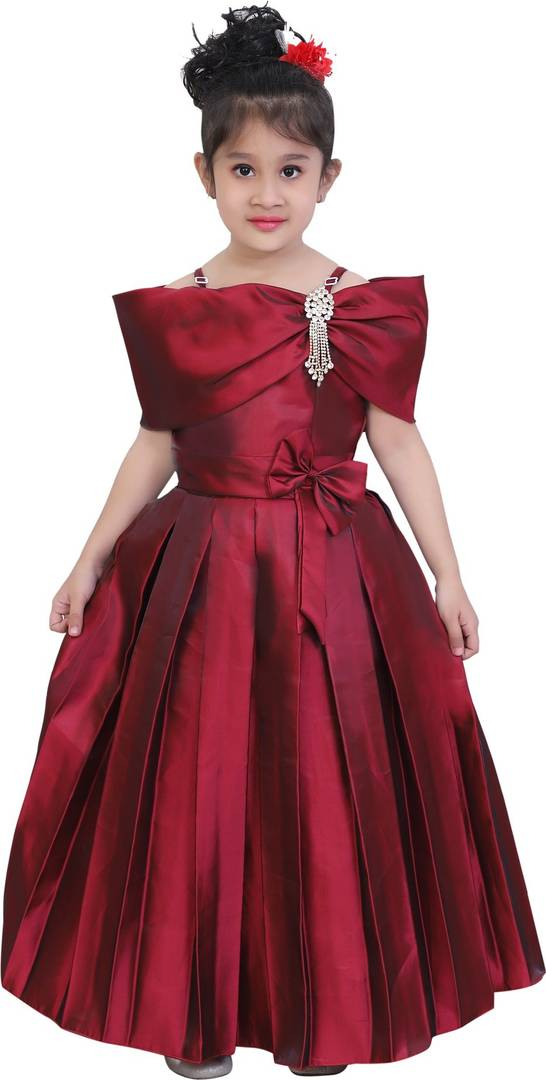 Maroon Silk Party Wear Dress