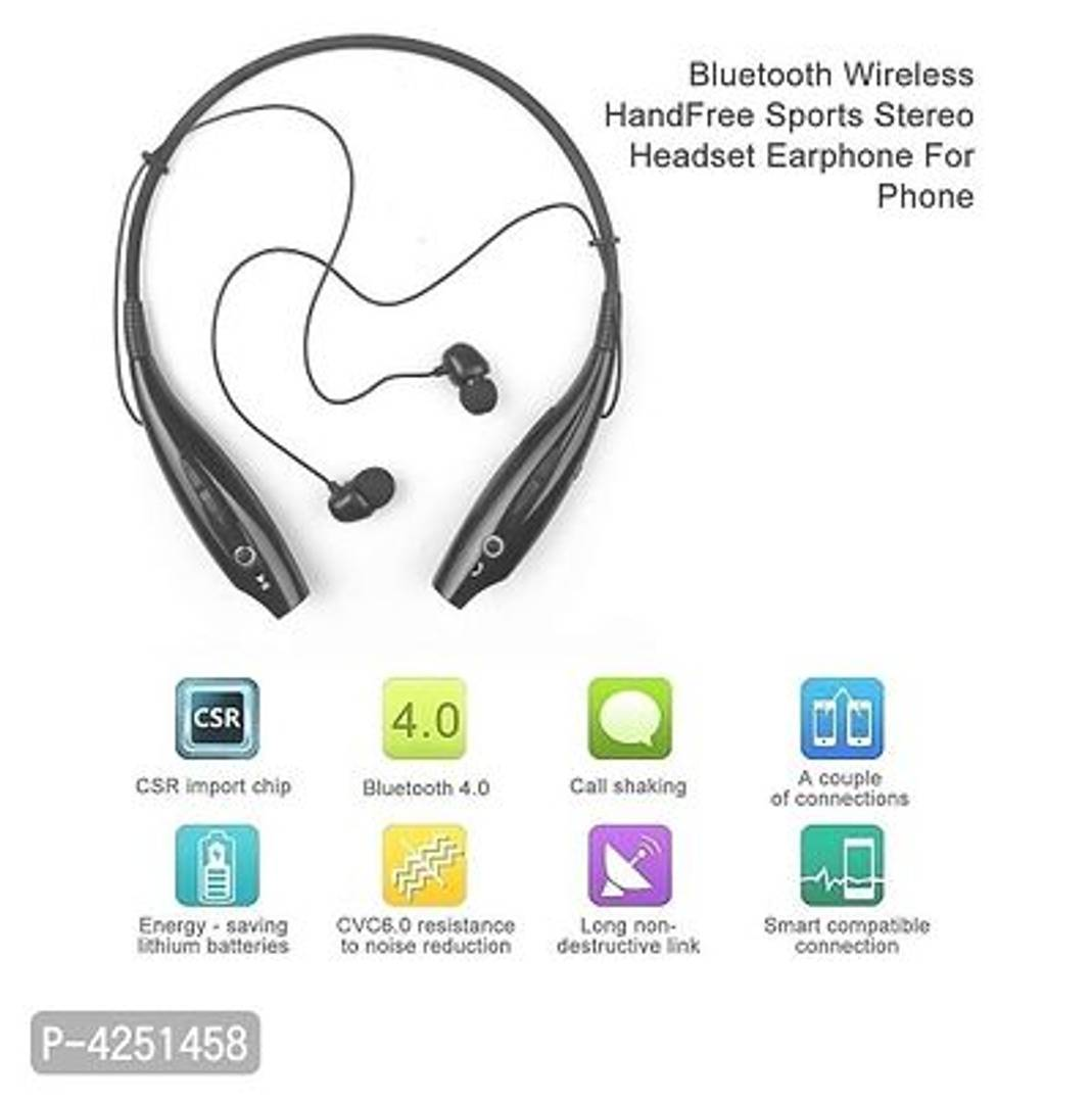 HBS 730 Wireless Neckband Bluetooth Headset Portable Headphone Handsfree Sports Running Sweatproof Compatible Android Smartphone Noise Cancellation