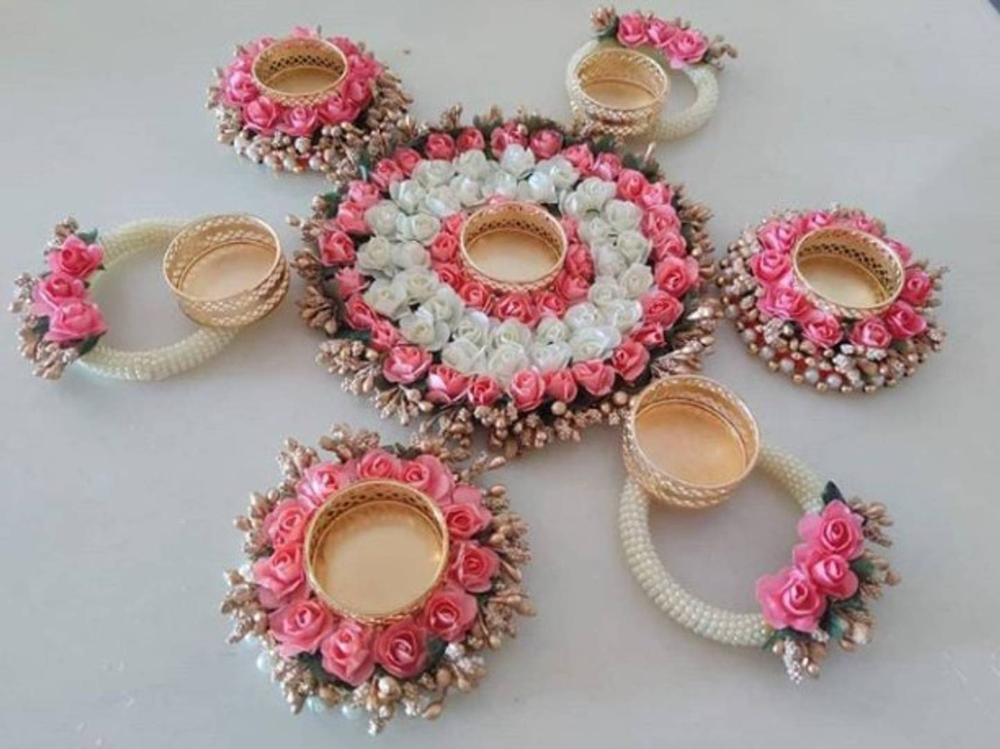 Diwali decor flower Rangoli  candle holder