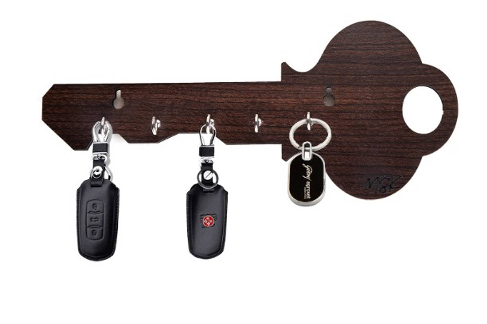 MSK Key Holder - Key Shaped - Coffee - 5 hooks