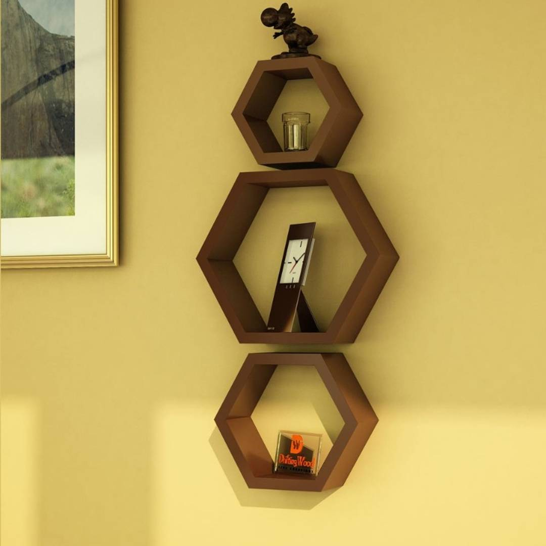Creative Coffee Wall Decorative Hexagonal  Rack Shelf