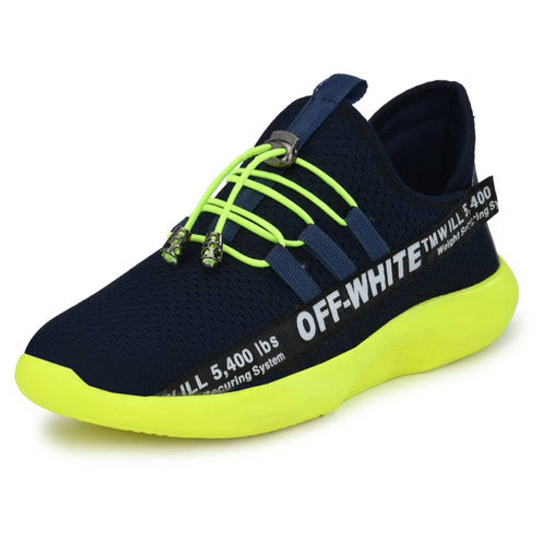 Men's Stylish and Trendy Navy Blue Printed Fabric Casual Sports Shoes