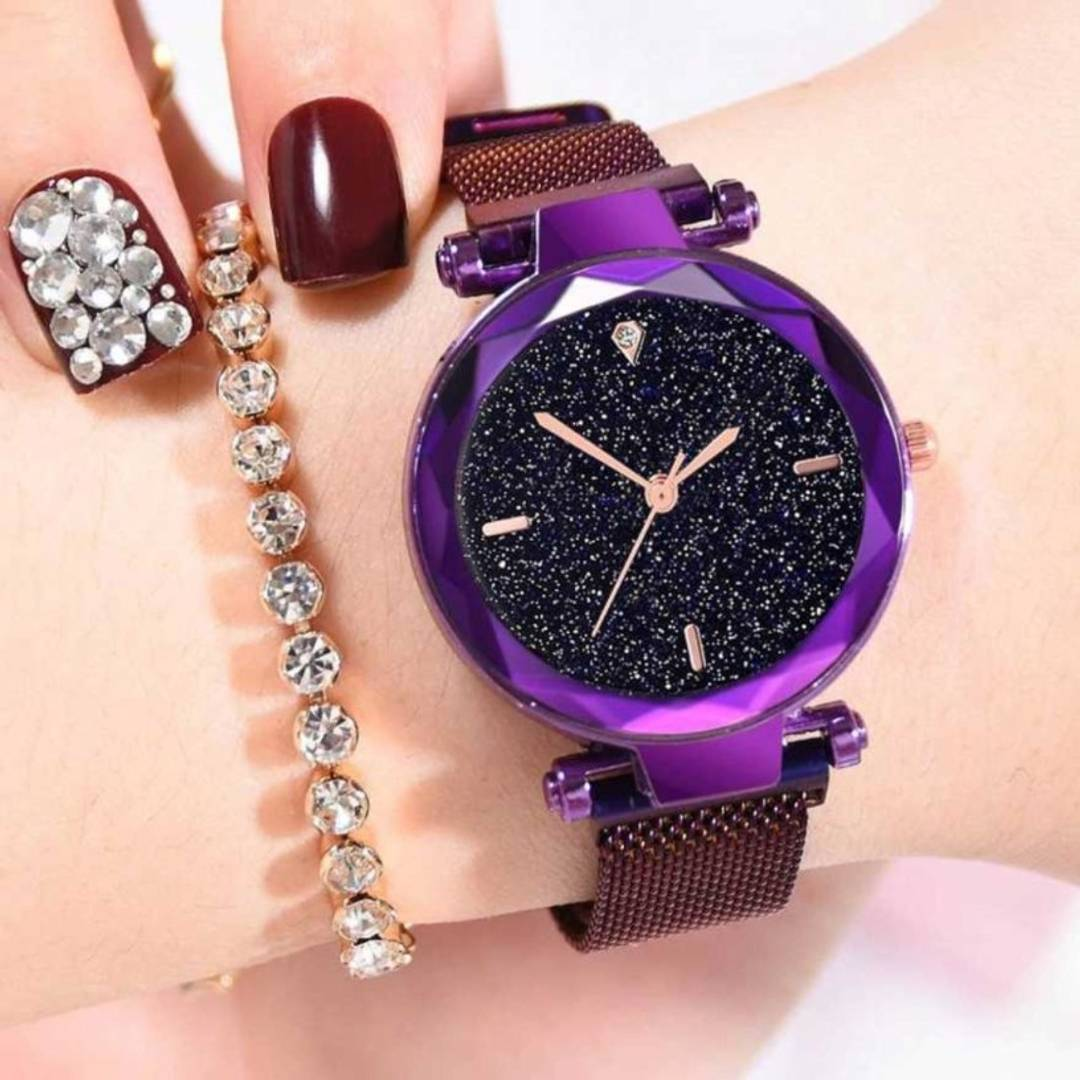 Purple Four Figer Megnet Belt analog Women Watch