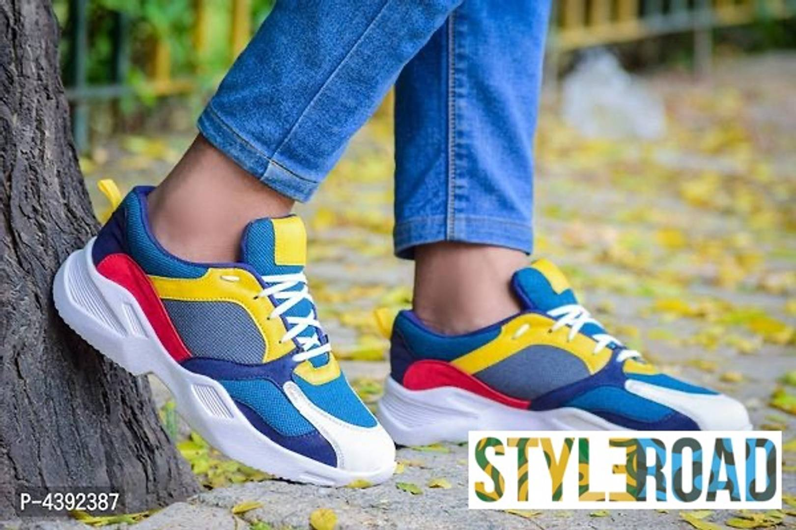 Trendy Multicoloured Mesh Sports Shoes For Men