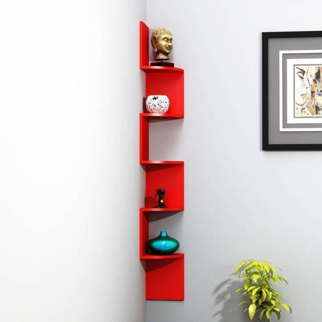Stylish MDF Wooden Zig Zag Wall Rack Shelf