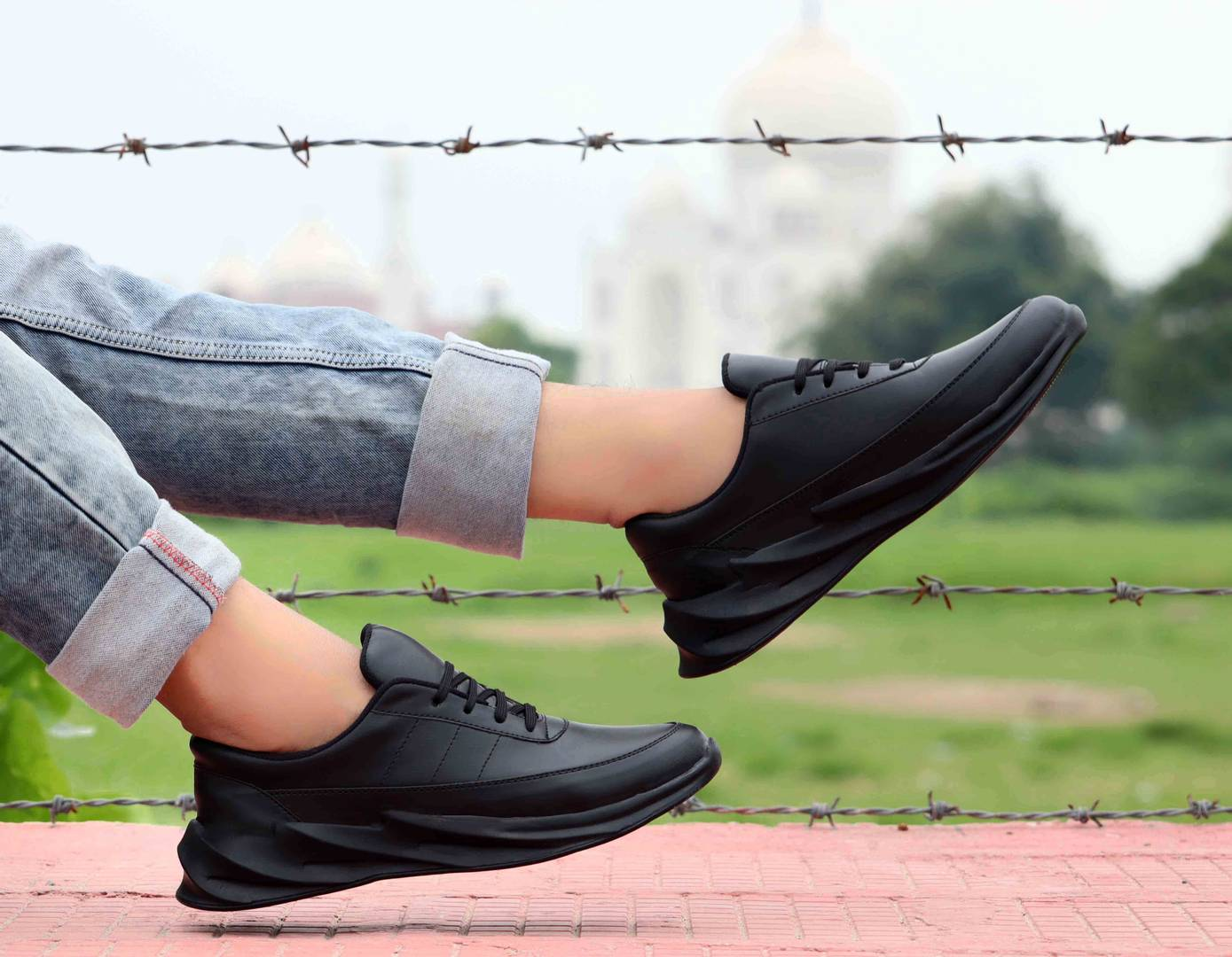 Men's Stylish and Trendy Black Solid Synthetic Casual Sneaker
