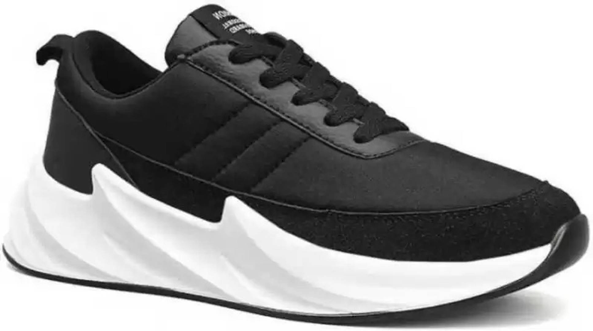 Men's Stylish and Trendy Black Solid Synthetic Casual Sneakers