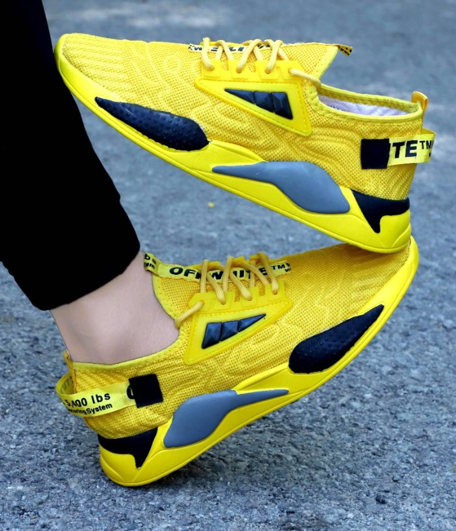 Mens Yellow Sports Shoes - BEST-555 YELLOW