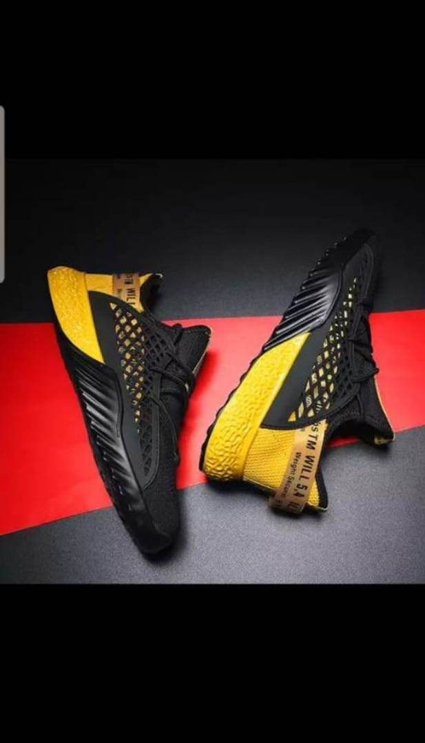 Men's Black & yellow Mesh Walking Breathable Comfy Sports Sneaker