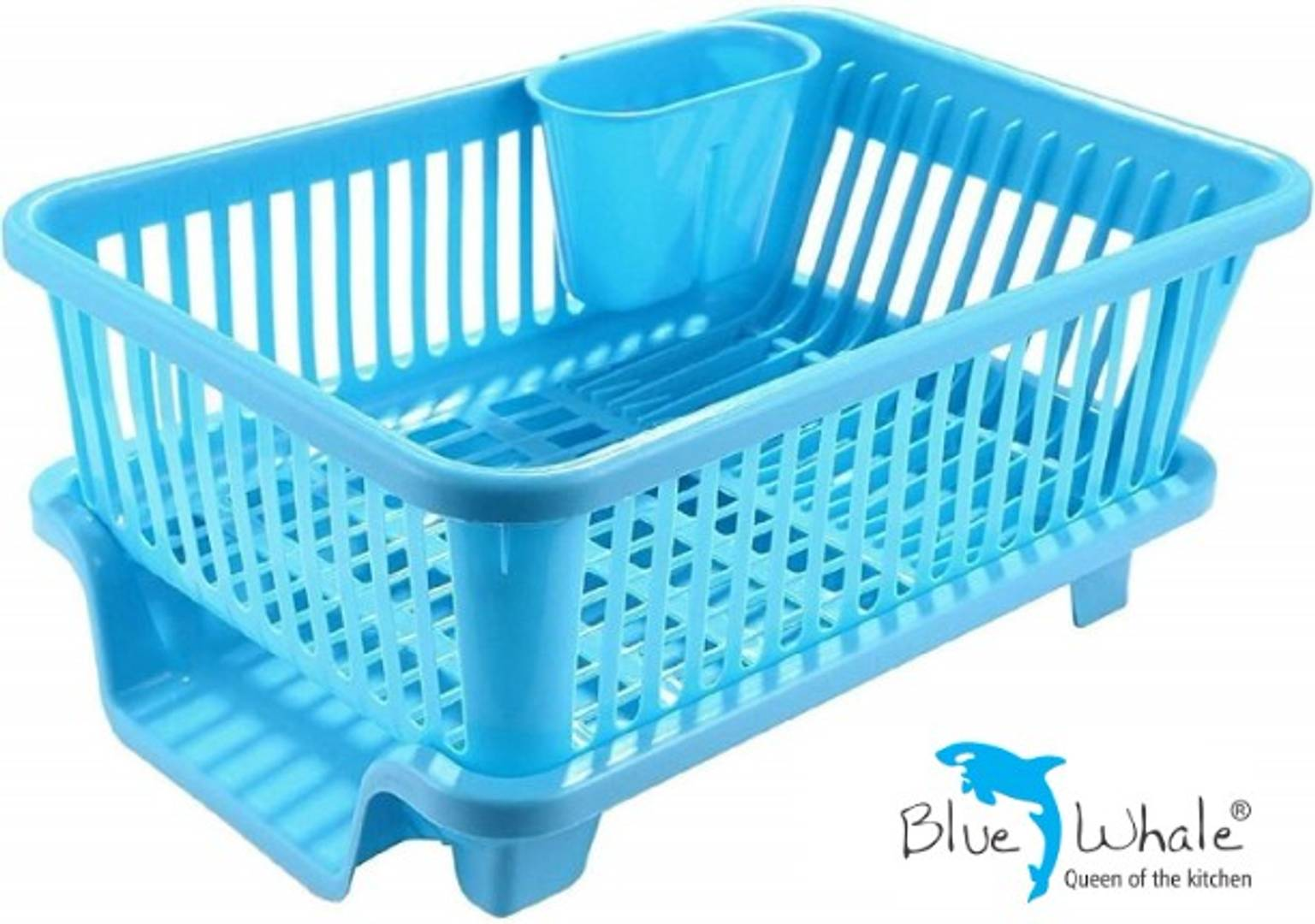 Bluewhale New 3 IN 1 Large Sink Set Dish Rack Drainer Dish Drainer Kitchen Rack (Blue)